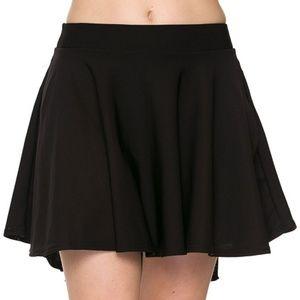 High Low Mini Flared Scuba Skater Skirt | Black